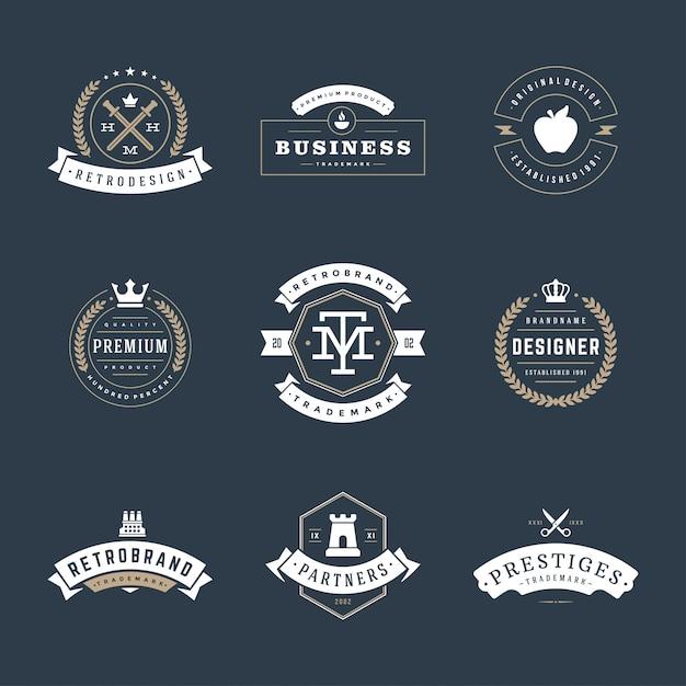 Retro vintage badges and logos set vector design elements Premium Vector