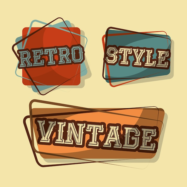 Retro vintage badges style words classic fonts Vector