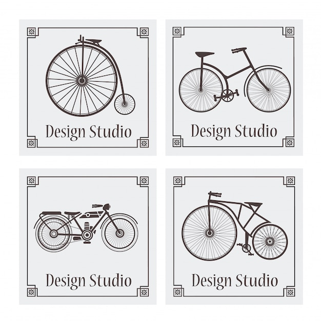 Retro vintage bicycle pattern Premium Vector