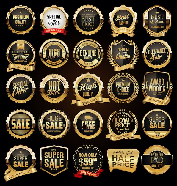 Retro vintage black and gold badges and labels collection Premium Vector