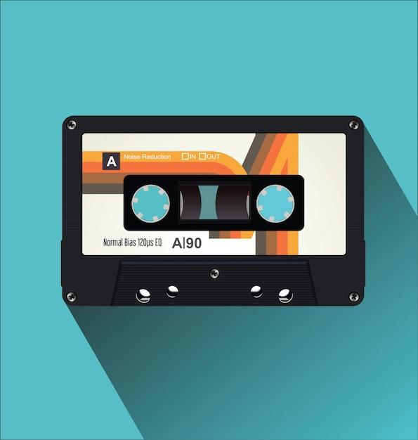 Retro vintage cassette tape flat concept vector illustration Premium Vector