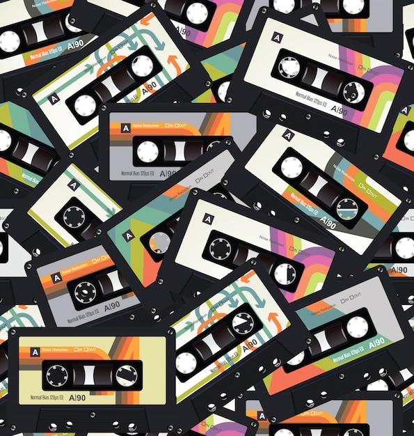 Retro vintage cassette tape seamless background vector Premium Vector