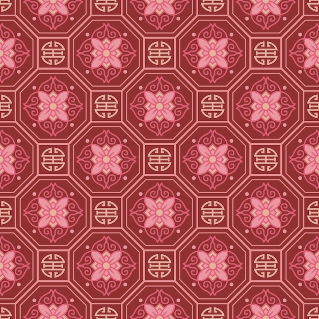 Retro vintage chinese traditional pattern seamless background polygon geometry tracery frame chain flower Premium Vector