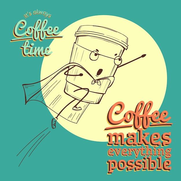 Ретро винтаж кофе иллюстрация с вектором супергероя Premium векторы