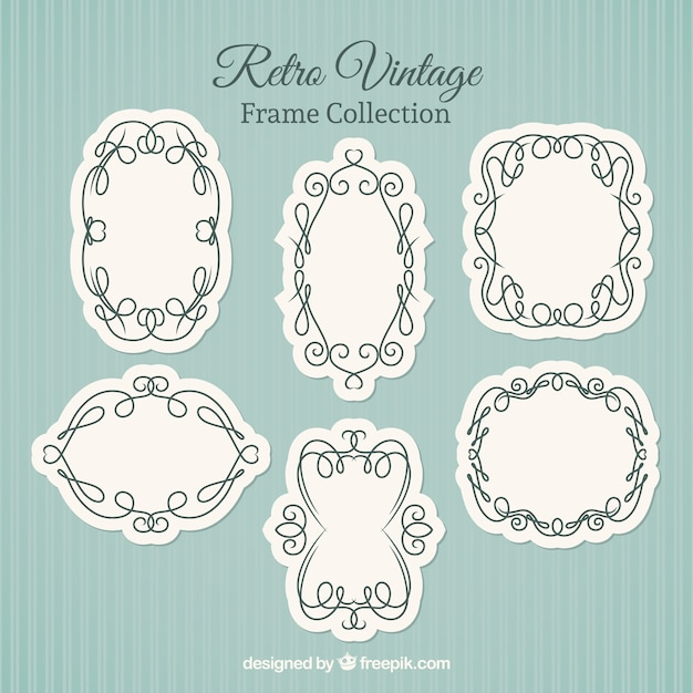Retro vintage frames, hand drawn Vector | Free Download