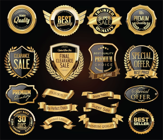 Retro vintage golden badges labels badges and shields collection Premium Vector