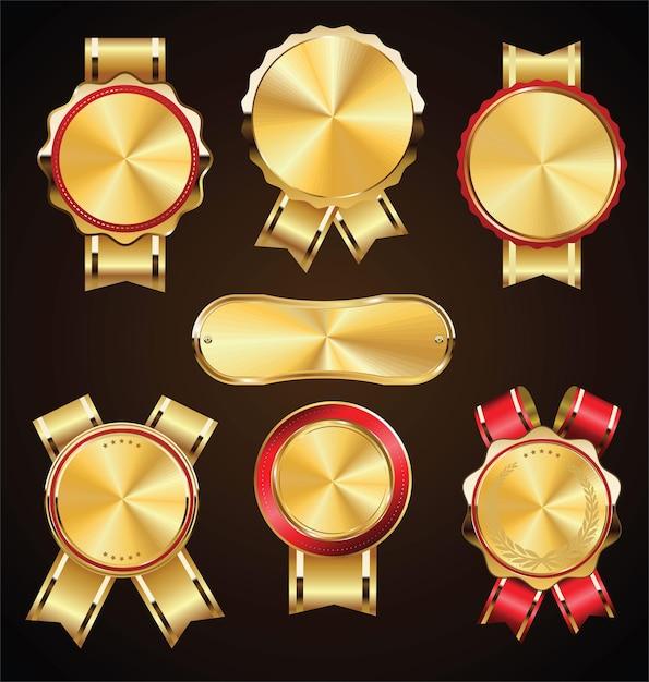 Коллекция ретро старинных золотых медалей и этикеток Premium векторы