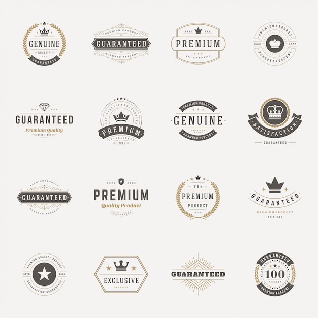 Retro vintage insignias or logotypes set vector design elements Premium Vector