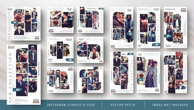 Retro vintage instagram stories and feed post bundle kit banner Premium Vector