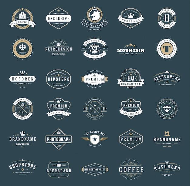 Retro vintage logotypes and badges set typopgraphic Premium Vector