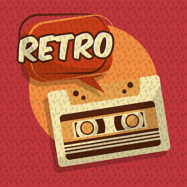Retro vintage music cassette audio speech bubble Vector | Premium