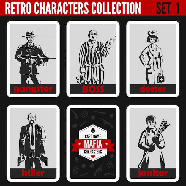 Установлены ретро старинные силуэты людей. гангстер, босс, доктор, убийца, иллюстрации профессий уборщика. Premium векторы