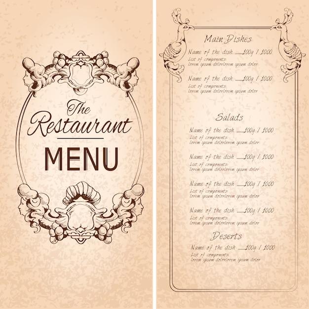 Retro vintage restaurant menu template with frame and decoration retro vintage restaurant menu template with frame and decoration vector illustration free vector stopboris Image collections
