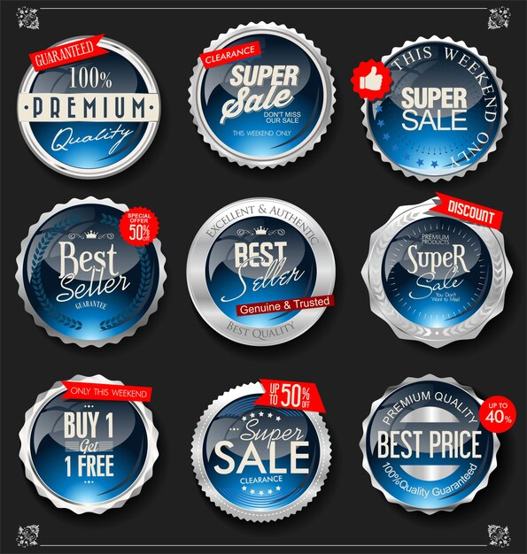 Retro vintage silver badges and labels collection Premium Vector