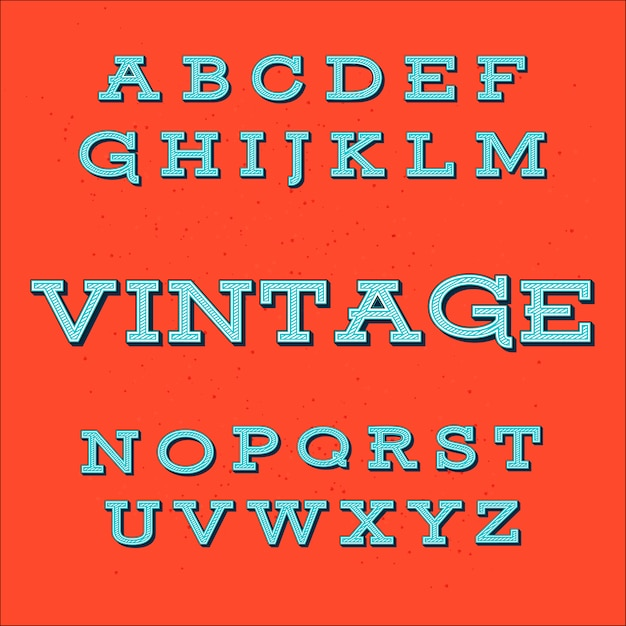 Retro vintage style alphabetフォント Premiumベクター