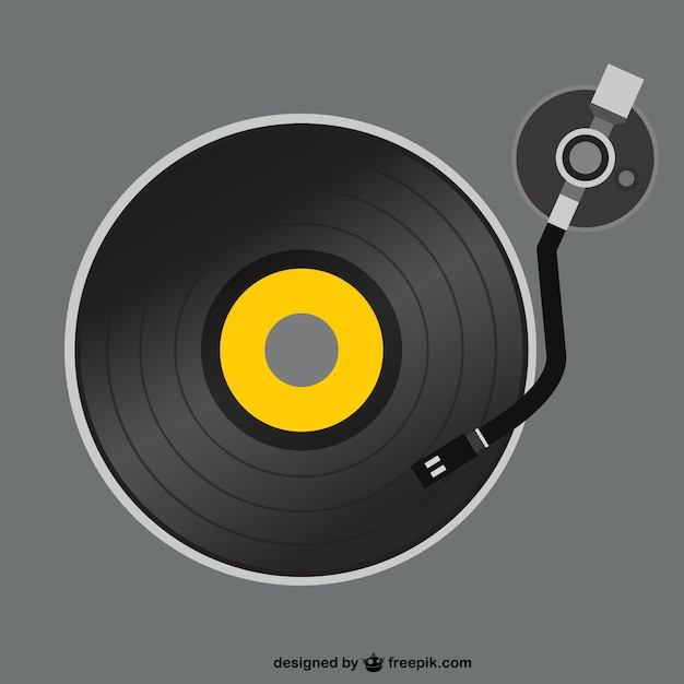 Retro vinyl record player Free Vector