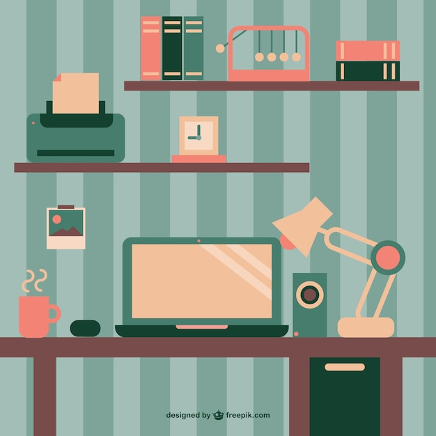 Retro Wallpaper Office Space Flat Design Vector Free