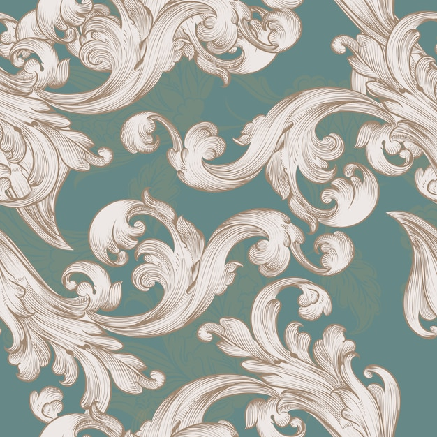 Retro wallpaper pattern with swirl floral element Free Vector