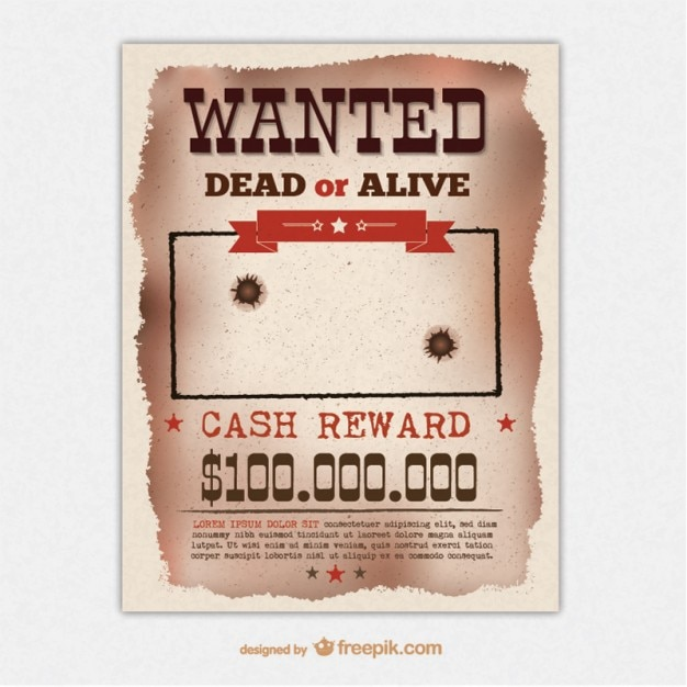 Amazing Retro Wanted Poster Template Free Vector