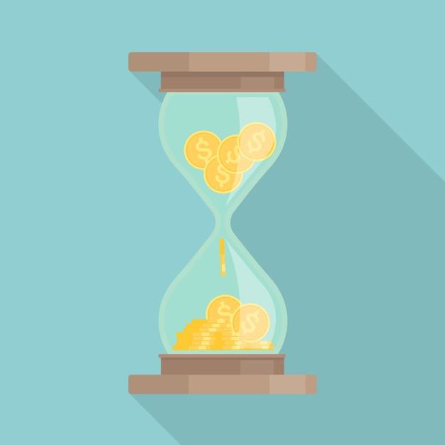 레트로 시계. 빈티지 모래 시계 또는 모래 시계 프리미엄 벡터