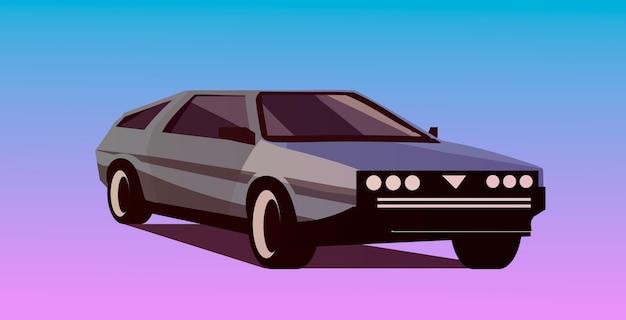 Ретро-волновая машина в стиле 80-х. векторная иллюстрация ретроволны. Premium векторы