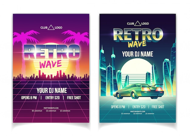 Retro wave music party, dj performance in nightclub poster Free Vector