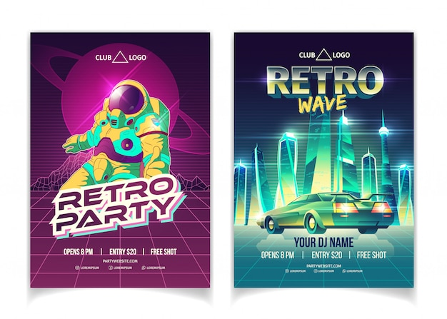Retro wave music party in nightclub cartoon  ad poster Free Vector