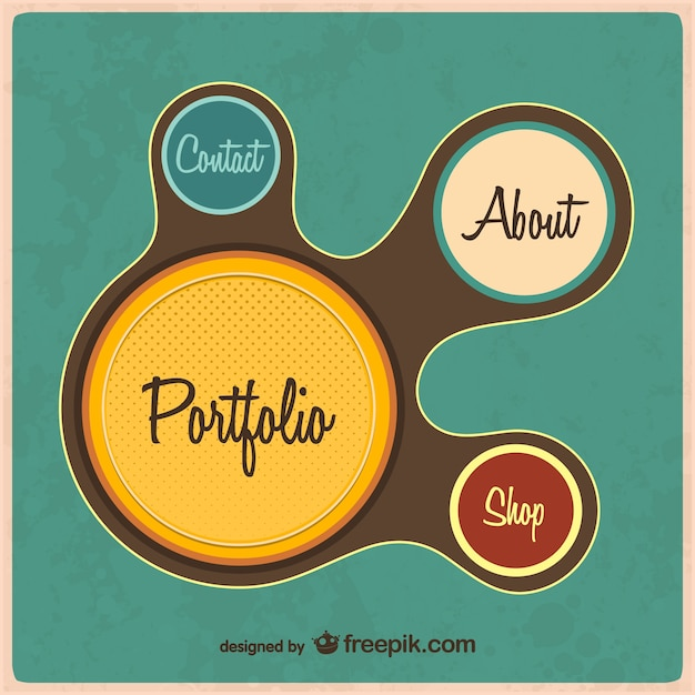 retro web portfolio template vector free download