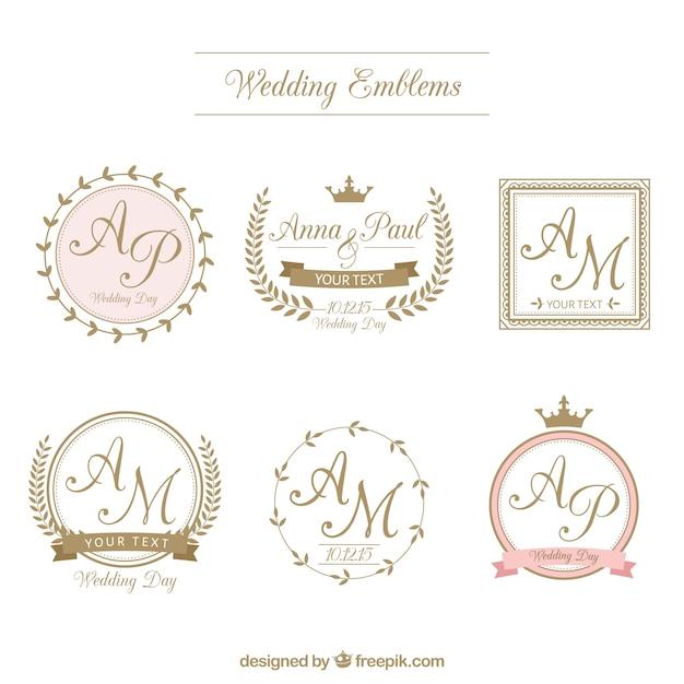 Retro wedding badges in ornamental style Free Vector