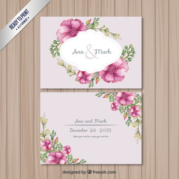 Retro Wedding Card With Flowers Vector Free Download