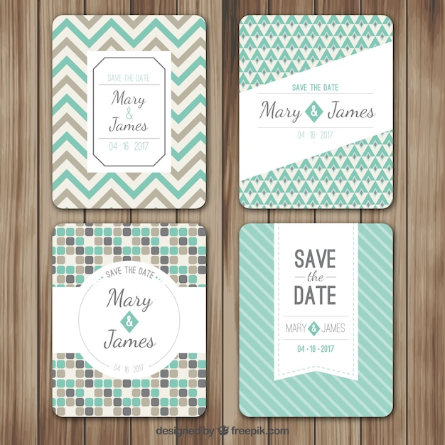 Retro wedding cards Free Vector