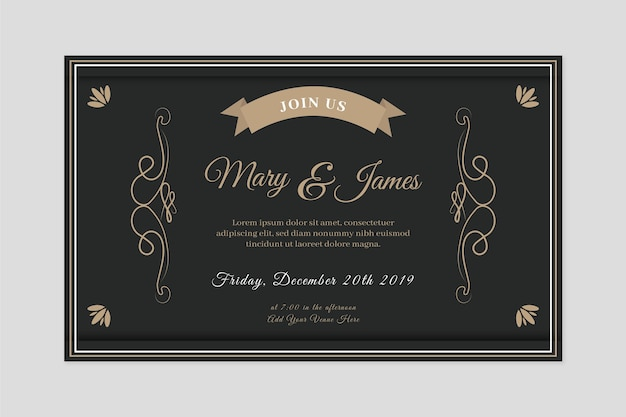 Retro wedding invitation in black tones Free Vector