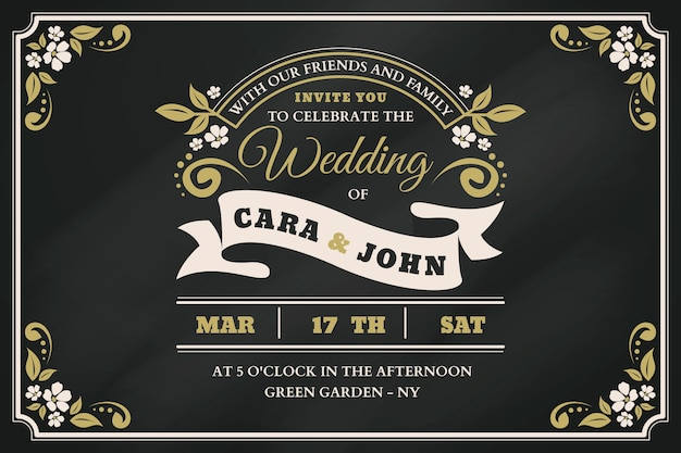 Retro wedding invitation template on blackboard Free Vector