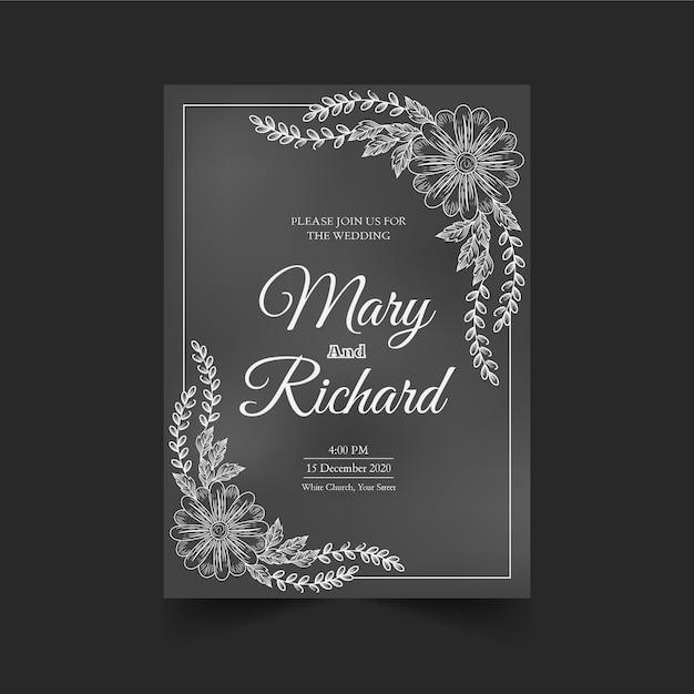 Retro wedding invitation template on blackboard Free Vector