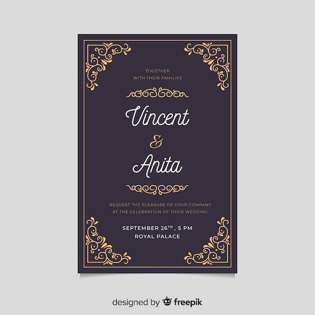 Retro Wedding Invitation Template With Golden Elements Vector