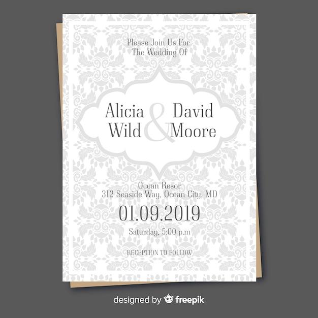 Retro wedding invitation template with ornaments Free Vector