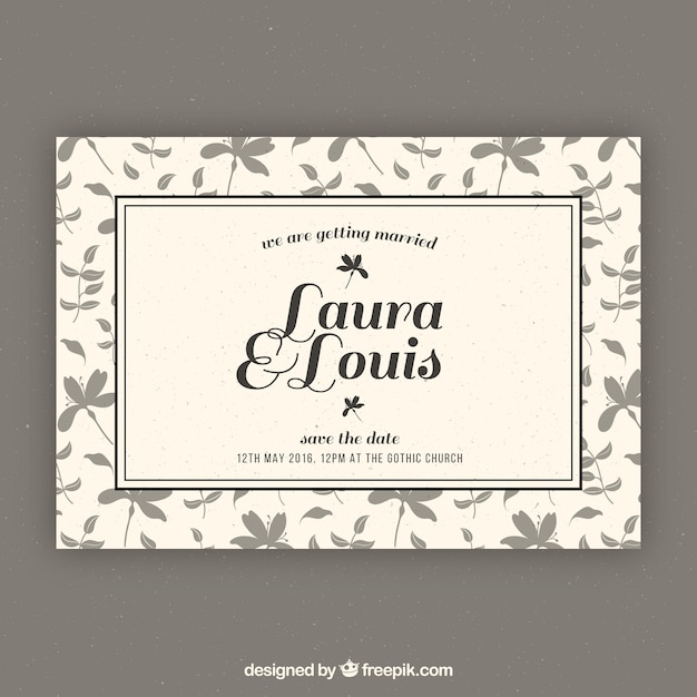 Retro wedding invitation template Vector | Free Download