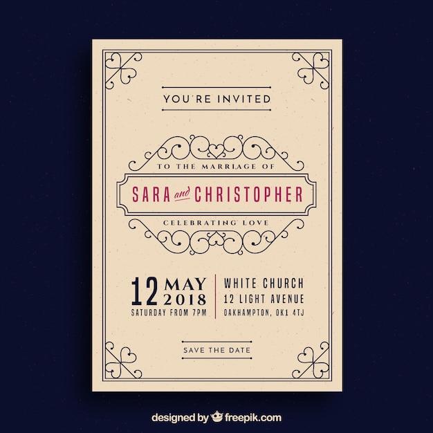 retro wedding invitation template free vector - Vintage Wedding Invitation Templates