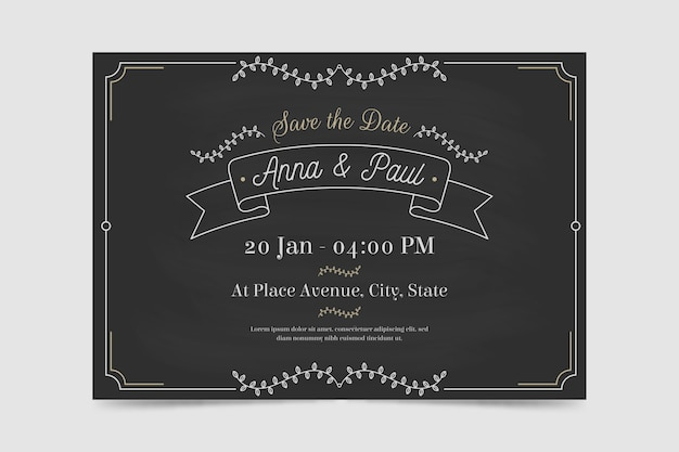 Retro wedding invitation template Free Vector