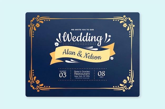 Retro wedding invitation template Free Vector