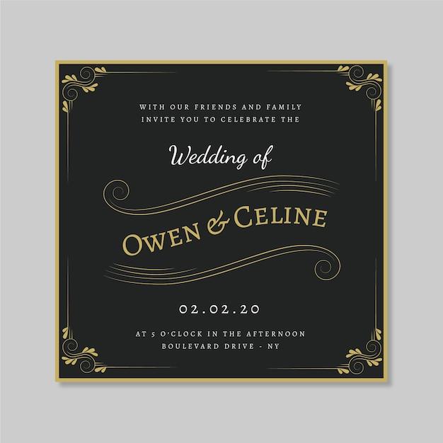 Retro wedding invitation with golden ornaments Free Vector