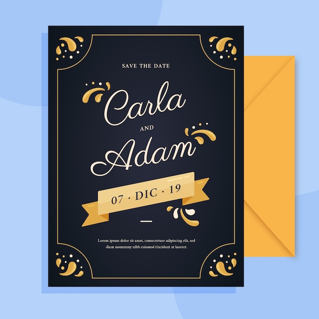 Retro wedding invitation with lovely lettering template Free Vector