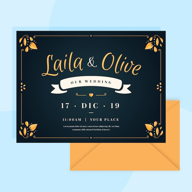 Retro wedding invitation with lovely lettering Free Vector