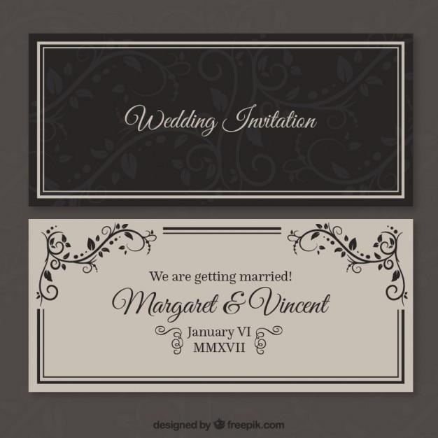 Retro wedding invitation Premium Vector