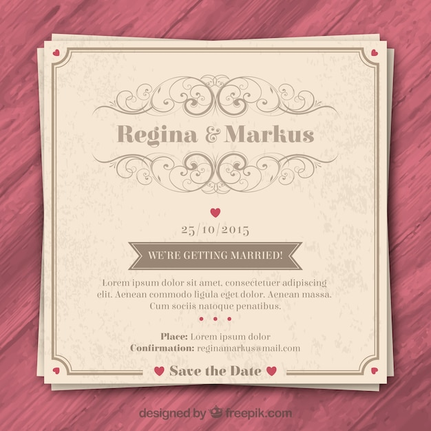 retro wedding invitation vector premium download