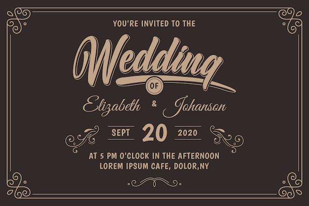 Retro wedding invitation Free Vector