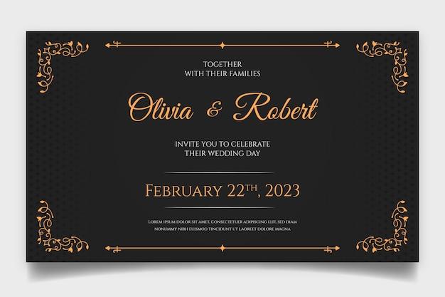 Ретро свадебное приглашение Premium векторы