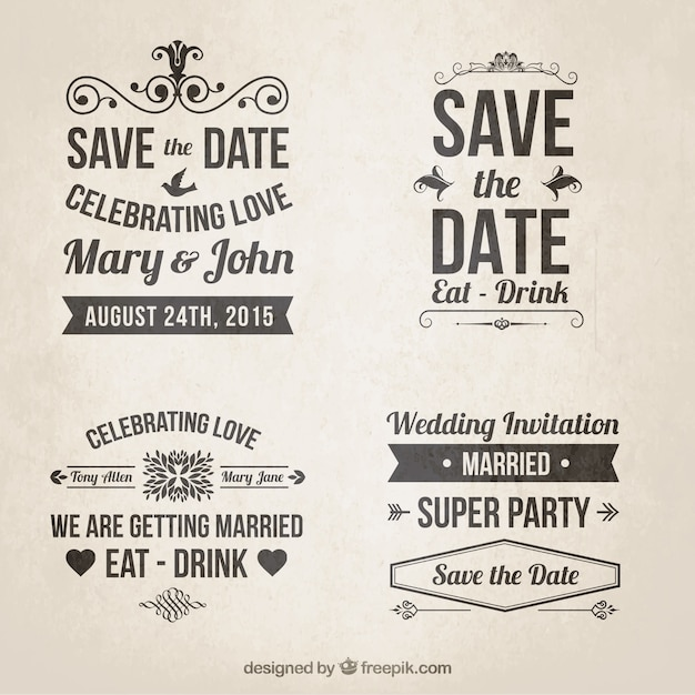 Retro Wedding Invitations In Lettering Style Free Vector