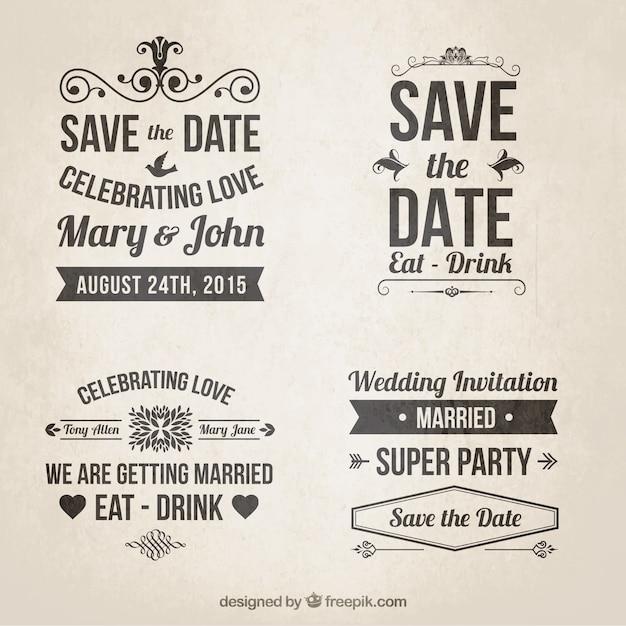 Retro Wedding Invitations In Lettering Style Vector
