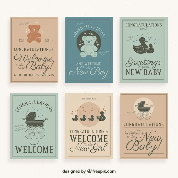 Retro welcome baby greeting card collection vector free download retro welcome baby greeting card collection free vector m4hsunfo